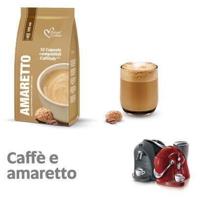 12 capsule Italian Coffee Caffè Amaretto compatibili Sistemi Caffitaly System-Professional-Coffee For You*