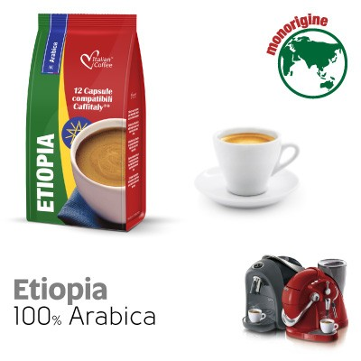 12 capsule Caffè Etiopia 100% Arabica compatibili Sistemi Caffitaly System-Professional-Coffee For You*