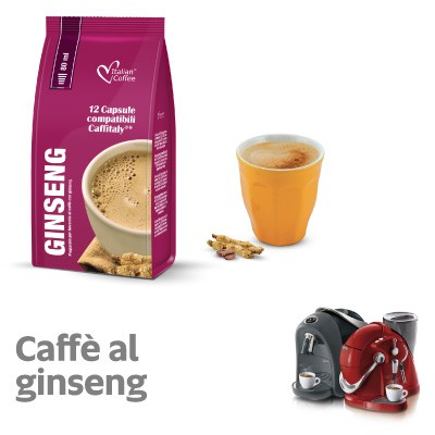12 capsule Italian Coffee Caffè Ginseng compatibili Sistemi Caffitaly System-Professional-Coffee For You*