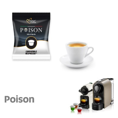 100 capsule Compatibili Nespresso caffè Cremoso India e Uganda Poison