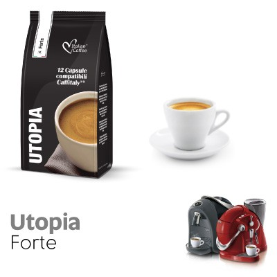12 capsule Italian Coffee Caffè Utopia compatibili Sistemi Caffitaly System-Professional-Coffee For You*